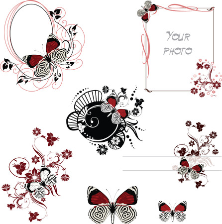 set of frames with butterfly in red and dark colors Illustration