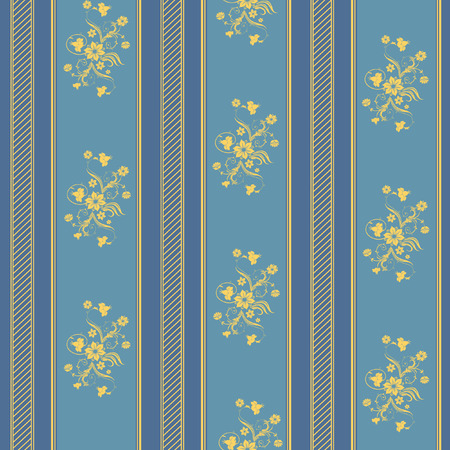 wallpaper with strips and floral elements in blue and gold Illustration