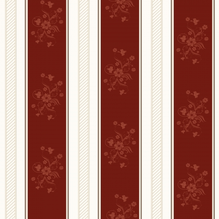 wallpaper with strips and floral elements in red and white Vector