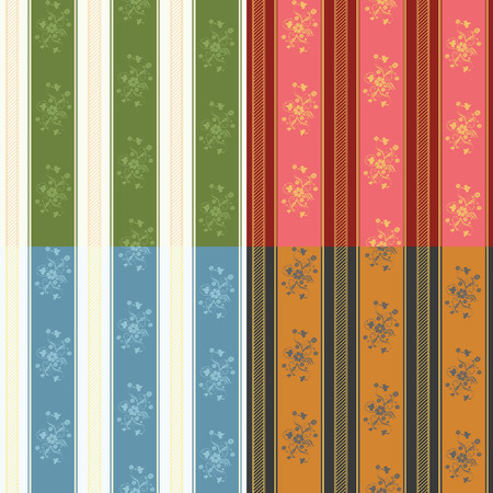 set of four wallpapers with strips and floral elements Stock Vector - 7103237