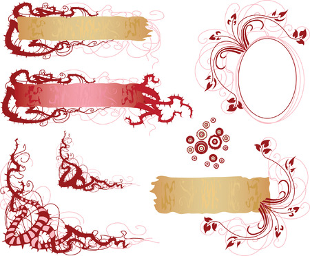 set of floral elements in red Stock Vector - 7103230