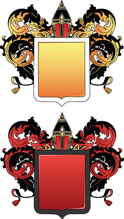 chivalrous: coat of arms black with gold and black with red