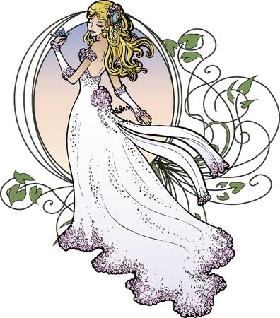 Bride in luxurious dress on Vignette background Иллюстрация