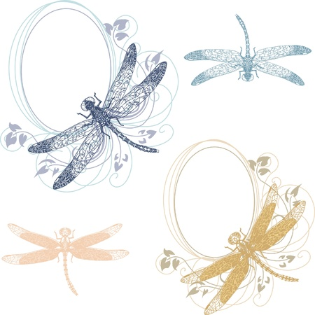 dragonfly wing: Set of vignettes with floral elements and dragonfly
