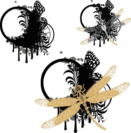 Set of vignettes with floral elements and dragonfly Stock Vector - 10354352
