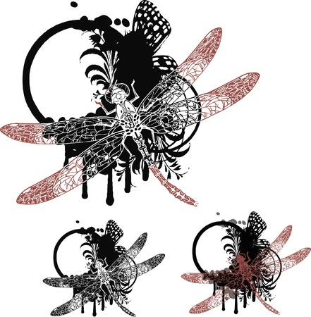 Set of vignettes with floral elements and dragonfly Stock Vector - 10354354