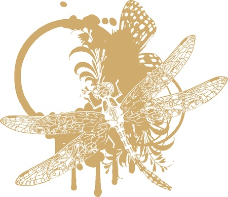 dragonfly wing: Vignette with floral elements and dragonfly