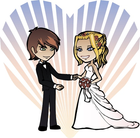 A wedding couple in cartoon style Vector