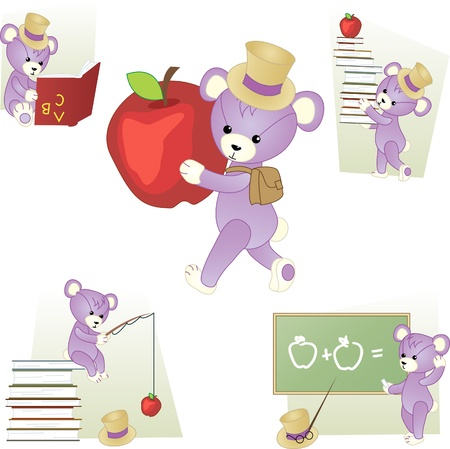 Set of school scenes with teddy bear Illustration