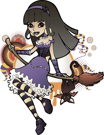 wicca: Young witch girl flying on a broom