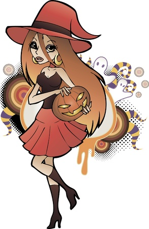 Young witch girl with pumpkin Vector