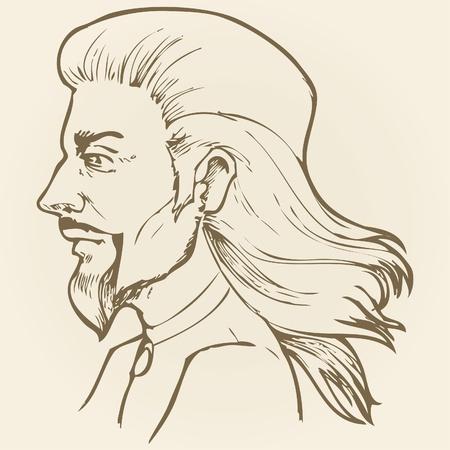 Disegno grafico della testa dell'uomo