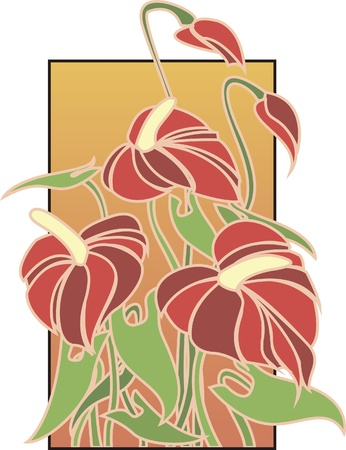 Flowers composition in Art Deco style