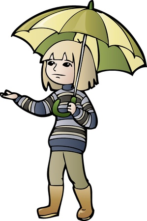 wet clothes: Cartoon boy in sweater with umbrella