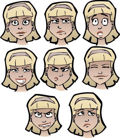 ojos caricatura: Conjunto de caras de la hembra de dibujos animados
