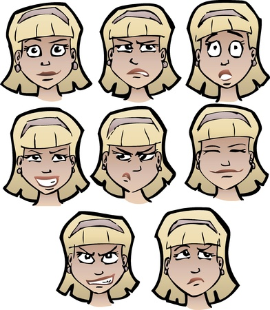 emotions faces: Set of cartoon females faces