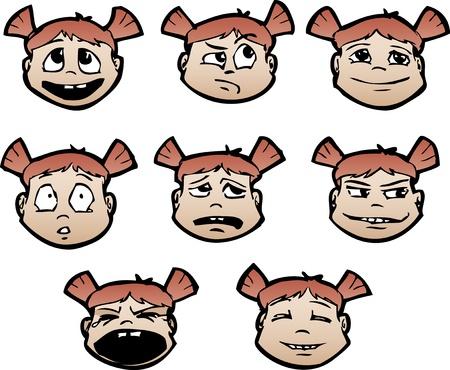 caras emociones: Conjunto de caras infantil de dibujos animados