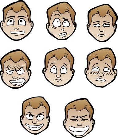 ojos caricatura: Conjunto de rostros masculinos dibujos animados Vectores