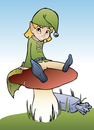 Funny little elf sitting on mushroom, cartoon style Vector