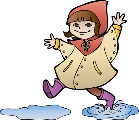Little girl in rain coat strides through puddles, cartoon style Vector