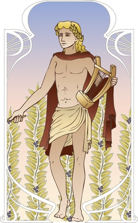 lyre: Antique god on vintage background in art Nouveau style