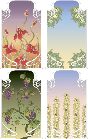 Set of four background frames in art Nouveau style