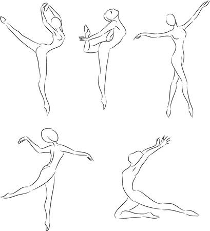 Ink sketches of ballet dancers motions  Vector