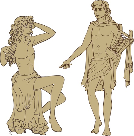 lyre: Antique gods Dionisus and Apollo in classical style