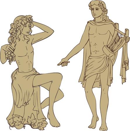 toga: Dioses antiguos Dionisus y Apolo en estilo clásico Vectores