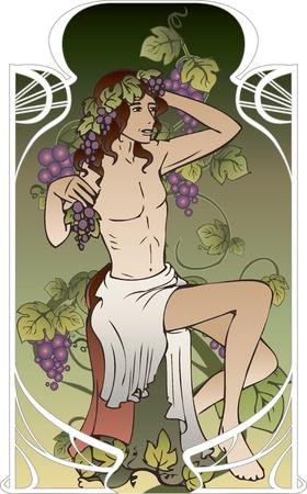 pohanský: Antique bůh na vinobraní pozadí ve stylu Art Nouveau