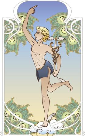toga: Antiguo Dios sobre fondo vintage en estilo art Nouveau