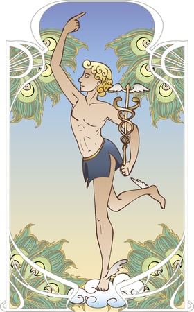 hermes: Antique god on vintage background in art Nouveau style