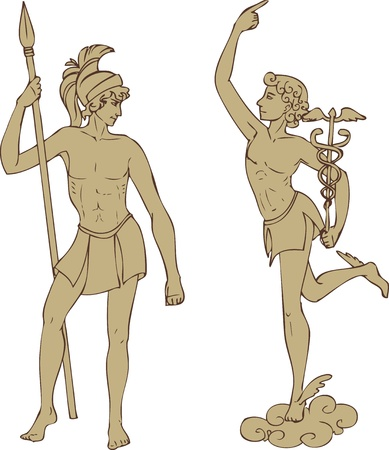 Antique gods Mars and Hermes in classical style
