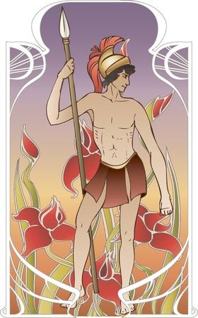 pohanský: Antique bůh na vinobraní pozadí v secesním stylu