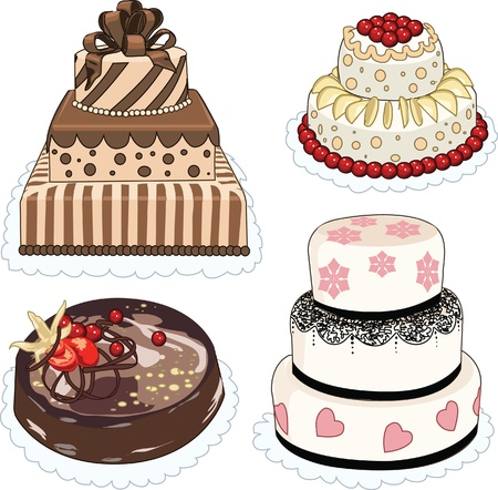 wedding reception decoration: Clip art set of cakes