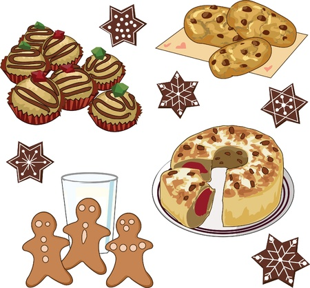 baked goods: Clip art set of xmas cookies and cake