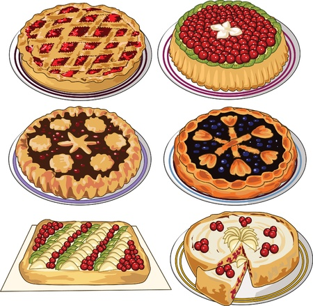 cherry pie: Clip art set of homemade pies  Illustration