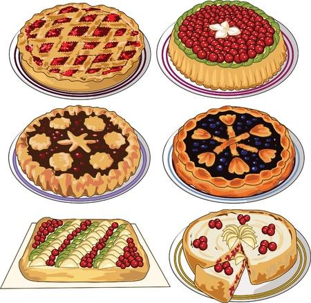 tarte aux cerises: Ensemble Clip art de tartes maison