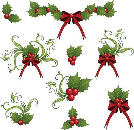 mistletoe: Clip art set of mistletoe decorative elements  Illustration
