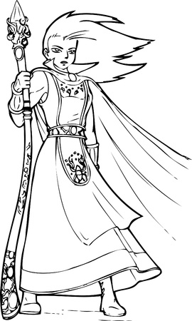 merlin: Young wizard in cartoon anime style  Illustration