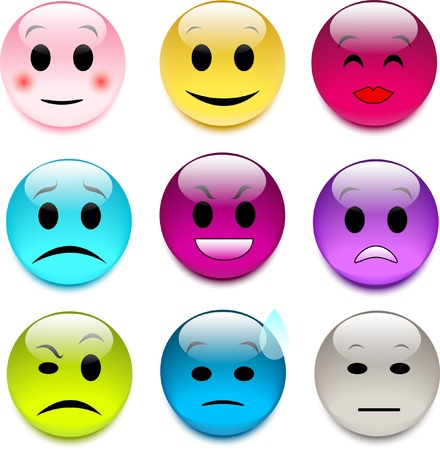 expressive mood: set of color glass emoticons Illustration