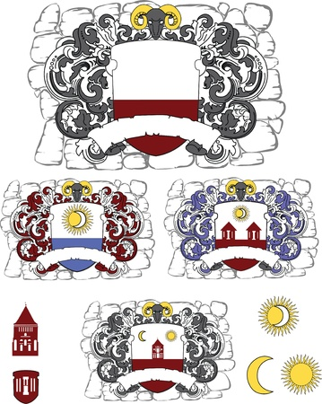 set of coat of arms Illustration