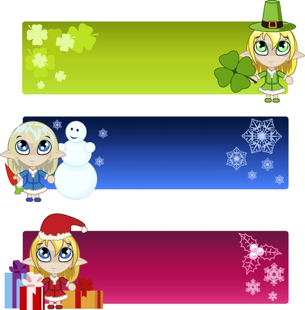 set of banners with elf Vector