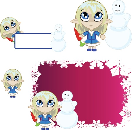 banners with little blue elf Vector