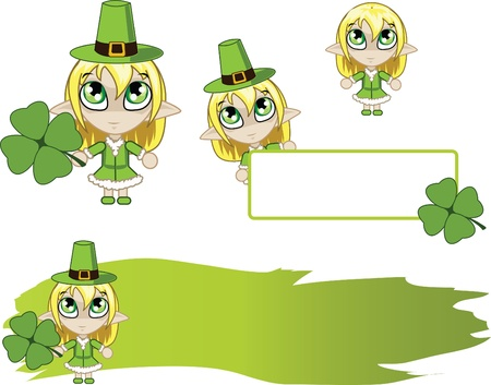 banners with little green elf Vector