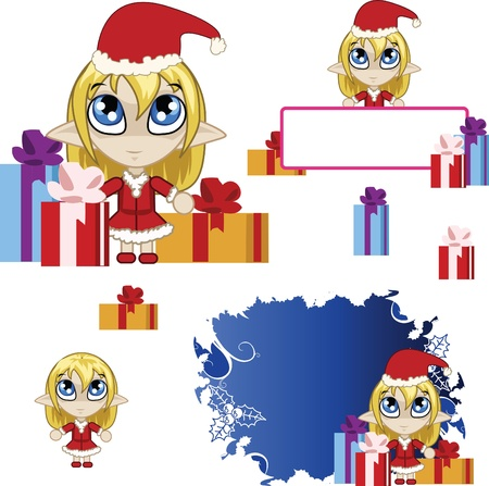 banners with little red elf Vector
