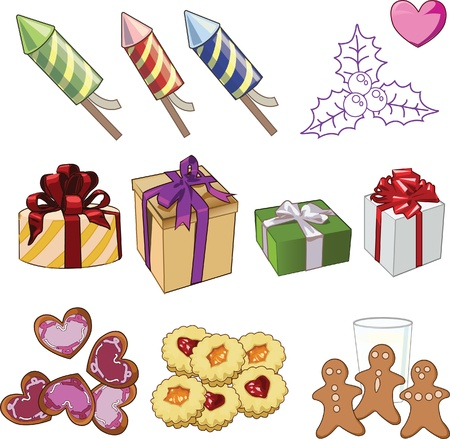 set of Xmas objects Vector