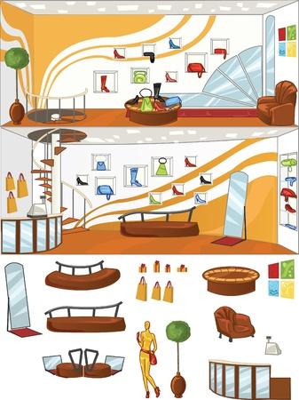 exposition art: concept de design de la boutique de chaussures d'int�rieur, avec des objets isol�s Illustration