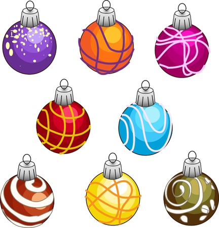 christmastree: Set of colorful Christmas-tree decorations Illustration