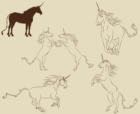 Set of unicorns in different active poses